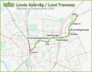 Mapa nové tramvajové trati v Lundu. Foto: By OpenStreetMap contributors - openstreetmap.org, CC BY 3.0, https://commons.wikimedia.org/w/index.php?curid=96006208