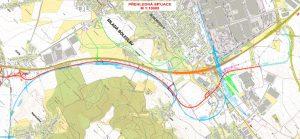Trasa silnice II/610 kolem Mladé Boleslavi (sever je pravá strana, červeně silnice, modře návrh trasy Bezděčínské spojky). Foto: Středočeský kraj