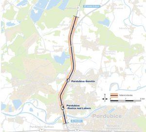 Mapa úseku Rosice - Stéblová. Foto: Správa železnic