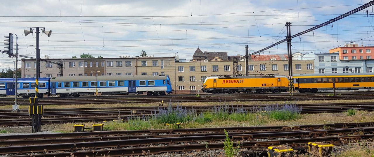 Vlaky Českých drah a RegioJetu v Pardubicích. Foto: Jan Sůra / Zdopravy.cz