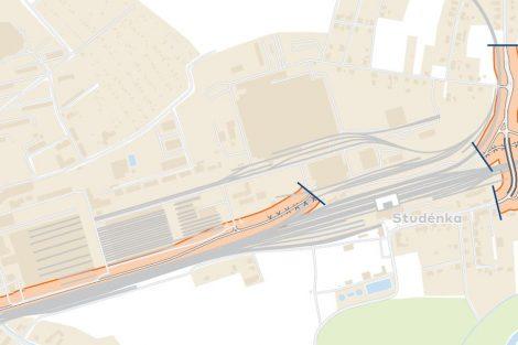 Mapa nového podjezdu ve Studénce. Foto: Správa železnic