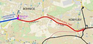 Plán nové tramvajové trati z Kobylis do Bohnic. Foto: DPP