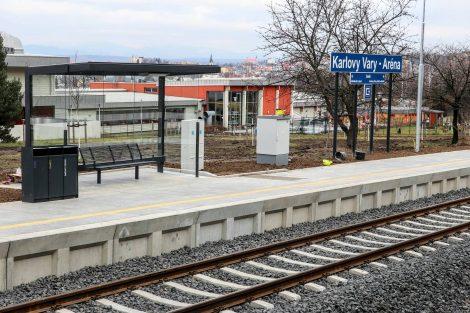 Nová zastávka Karlovy Vary-Aréna. Pramen: Správa železnic