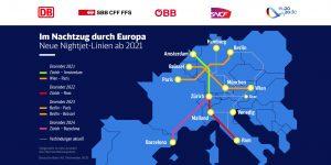 Noční spojení současná a plánovaná. Pramen: Deutsche Bahn