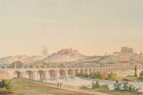 Vídeňský viadukt v Brně, historické zobrazení. Pramen: KAM Brno