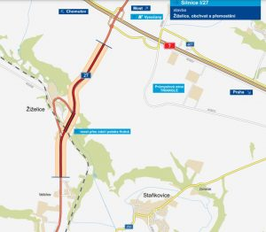 Silnice I/27, obchvat obce Žiželice. Pramen: ŘSD