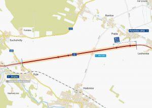 Mapa opravovaného úseku silnice I/53 mezi Znojmem a Lechovicemi. Foto: ŘSD