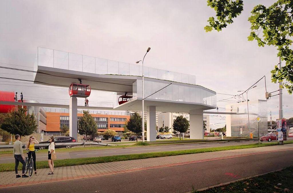 Lanovka Pisárky - Kampus, vizualizace. Pramen: DPMB, dokumentace EIA