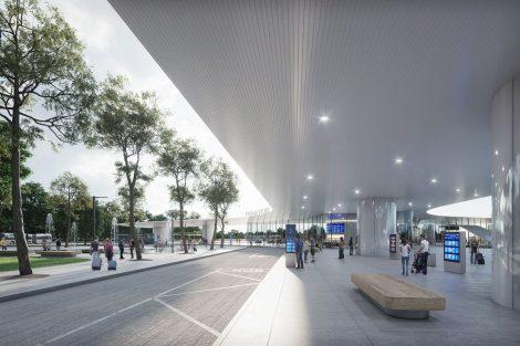 1. místo, Metroprojekt, Jiří Opočenský a Štěpán Valouch. Podoba budoucího terminálu Praha východ. Pramen: Správa železnic