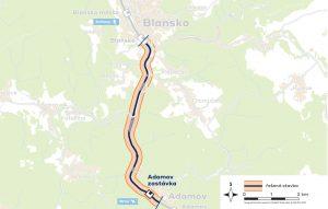 Úsek Adamov - Blansko. Foto: Správa železnic