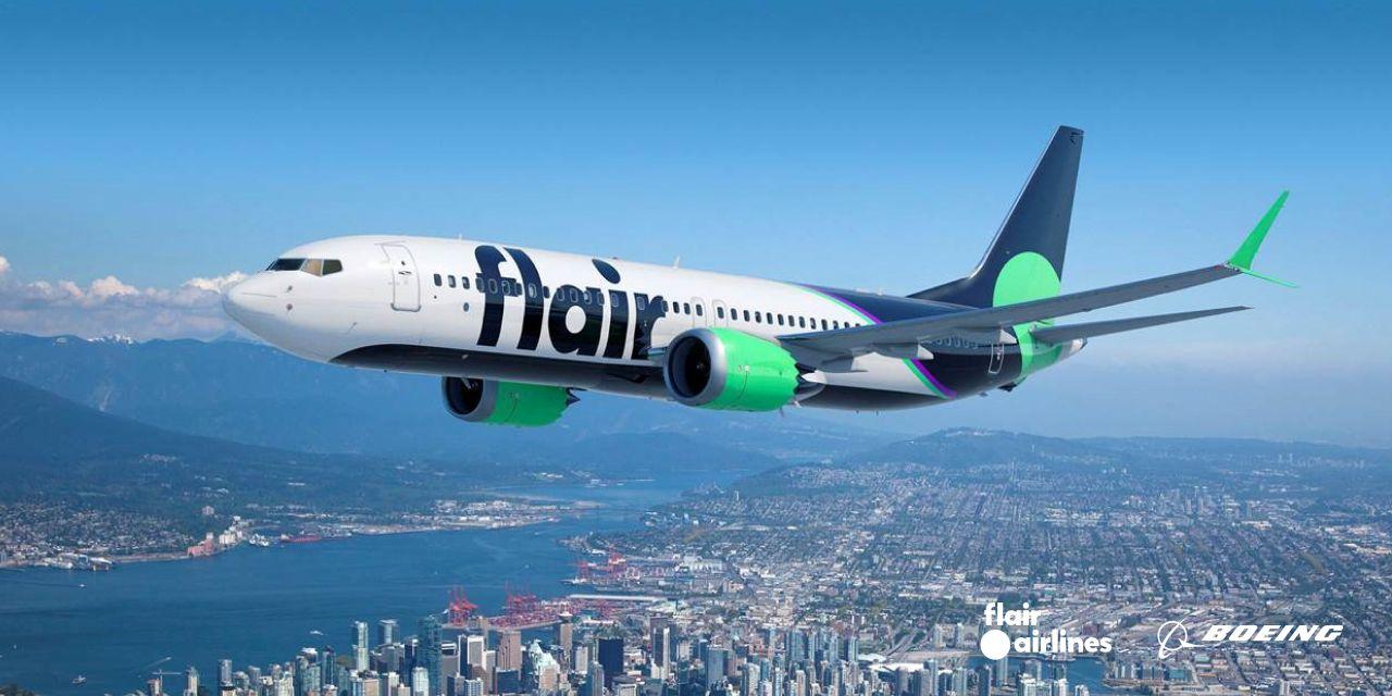 Boeing 737 MAX 8 na vizualizaci v barvách Flair Airlines