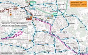 Mapa výluk kvůli uzavírce tramvajové trati v Průběžné. Foto: DPP