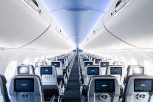 Interiér A220-300 společnosti JetBlue. Foto: JetBlue