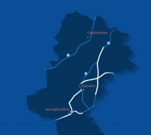 Předběžná trasa vysokorychlostní železnice z Katovic do polsko-českou hranici (bíle). Foto: CPK