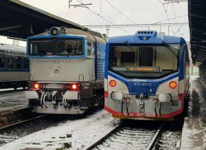 Vlaky Českých drah a KŽC Doprava na Masarykově nádraží. Foto: Jan Sůra