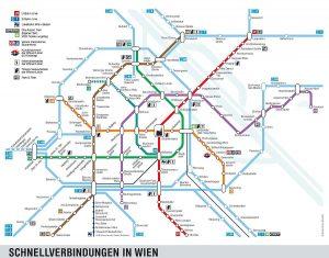 Budoucí podoba sítě vídeňského metra (fialová U2, tyrkysová U5). Pramen: Wiener Linien