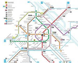 Současná podoba sítě vídeňského metra (fialová U2). Pramen: Wiener Linien