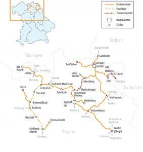 Síť tratí provozního soubor OberFranken. Foto: BEG