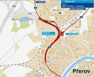 Trasa nové estakády na silnici I/55 v Přerově. Foto: ŘSD