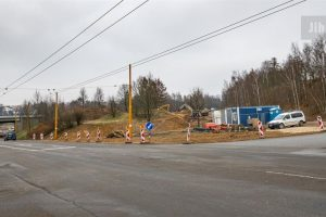 Stavba sjezdu ze silnice I/38 do ulice Romana Havelky v Jihlavě. Foto: Jihlava.cz