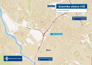 Mapa omezení na Žabovřeské. Foto: ŘSD