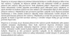 Část smlouvy mezi Libereckým krajem a Českými drahami.