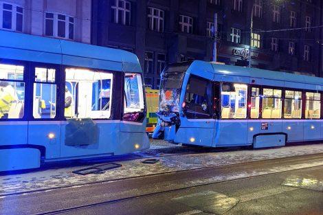 Srážka tramvají v Ostravě. Foto: Pavel Večerka / Facebook