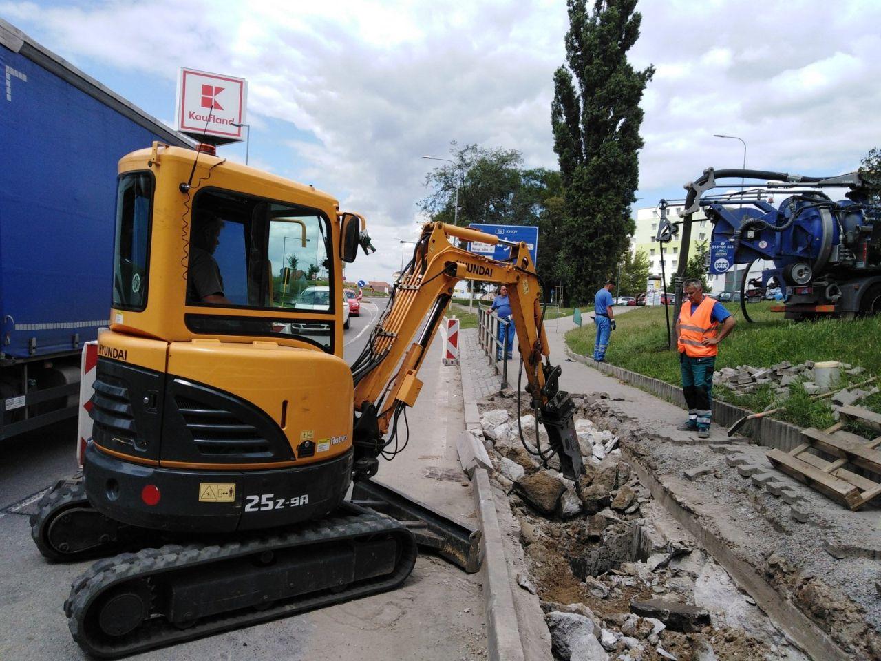 Úpravy silnice I/54 ve Veselí nad Moravou. Foto: FB profil Veselí nad Moravou
