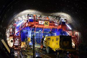 Ražba tunelu firmou BeMo Tunneling. Pramen: Metrostav