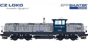 Lokomotiva EffiShunter 1000 v barvách společnosti Trainpoint. Pramen: CZ LOKO