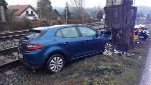 Nehoda osobního auta v Černošicích 28.ledna 2021.Foto: HZS Středočeského kraje