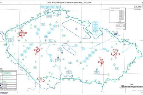Mapa vzdušného prostoru FL254A po 25.2. 2021. Pramen: ŘLP