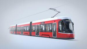 Nová tramvaj ForCity Smart pro Brno, vizualizace. Pramen: Škoda Transportation