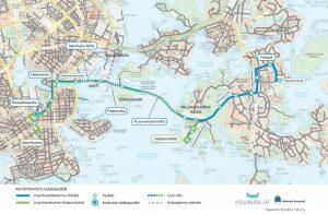 Tramvajové mosty Crown Bridges mezi ostrovy v Helsinkách. Pramen: By Helsingin kaupunki, https://helsinki.emmi.fi/l/5khJxkDzQHnq,