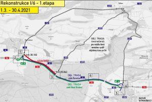 Oprava silnice I/6 Řevničov - Nové Strašecí. Pramen: ŘSD