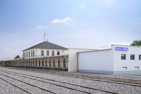 Nádraží Opava západ po rekonstrukci, vizualizace. Pramen: Správa železnic
