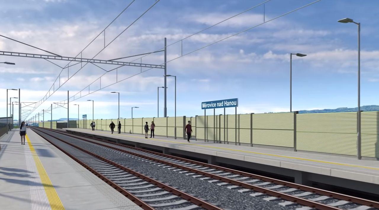 Vizualizace trati mezi Nezamyslicemi a Kojetínem. Foto: Správa železnic