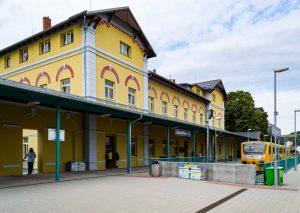Motorová jednotky 814 Regionova na horním nádraží v Litoměřicích. Foto: Správa železnic