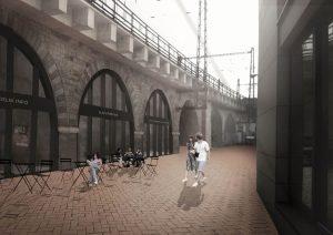 Negrelliho viadukt s vestavbami a upraveným okolím, vizualizace. Autor: MOBA Studio