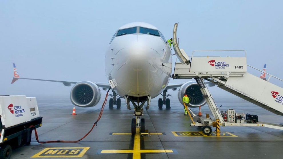 Boeing 737 MAX 8 OK-SWE 24. února v Praze před prvním letem po uzemnění. Foto: Smartwings