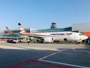 Boeing 737 MAX 8 OK-SWE před odletem do Malagy. Foto: Smartwings