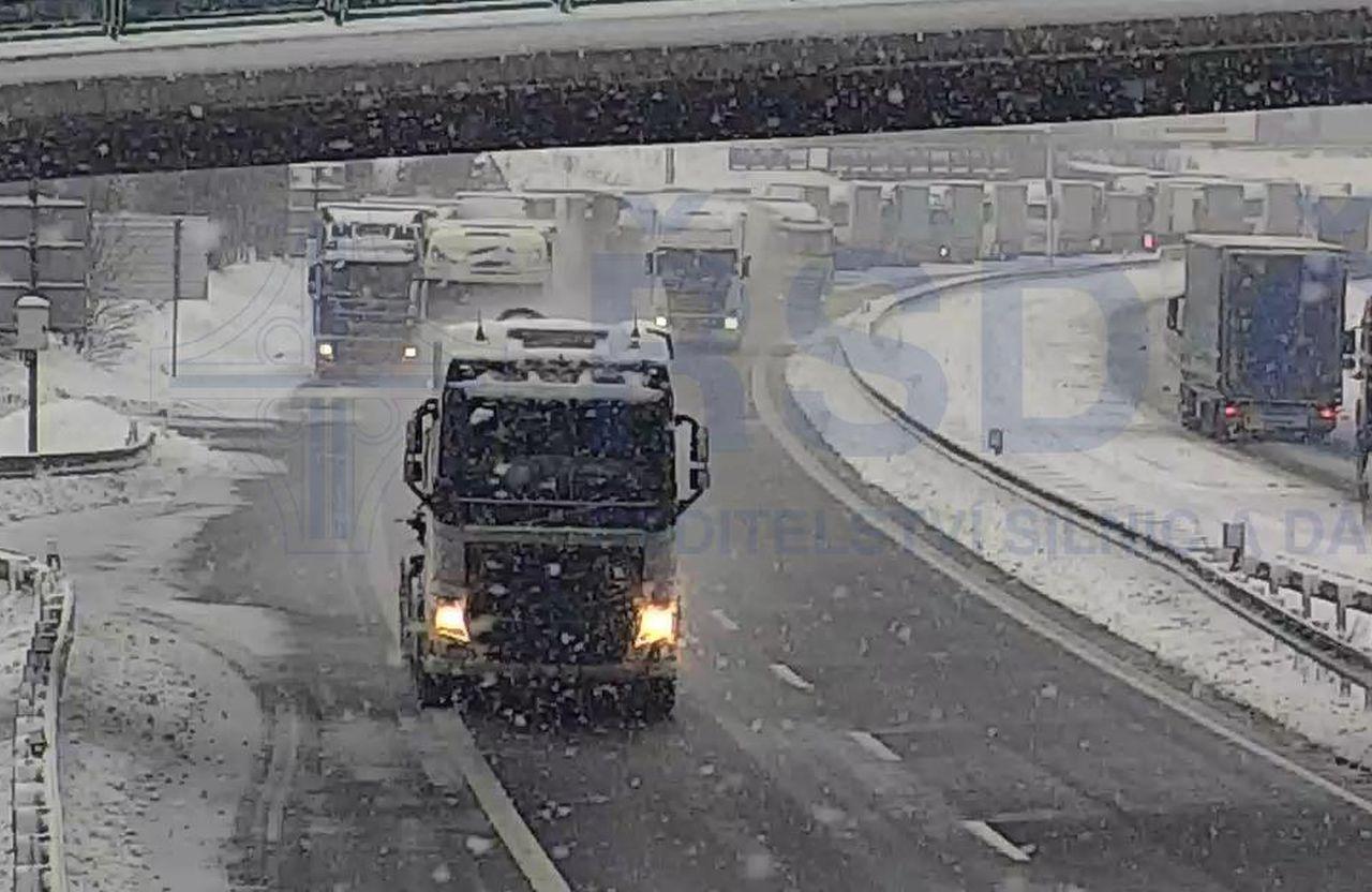 Kamiony na D8. Foto: ŘSD
