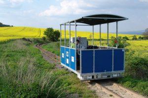 Experimentální kolejové vozidlo na mladějovské dráze. Foto: DFJP