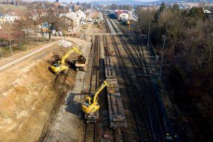 Zemní a kolejové práce ve stanici Střelice. Foto: Skanska