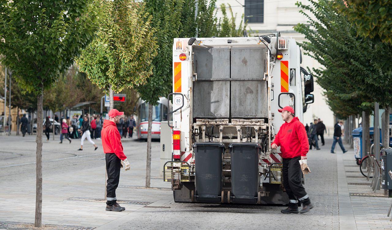 Odvoz odpadu z centra Brna. Foto: SAKO Brno