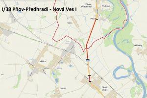 Mapa opravovaného úseku na silnici I/38. Foto: ŘSD