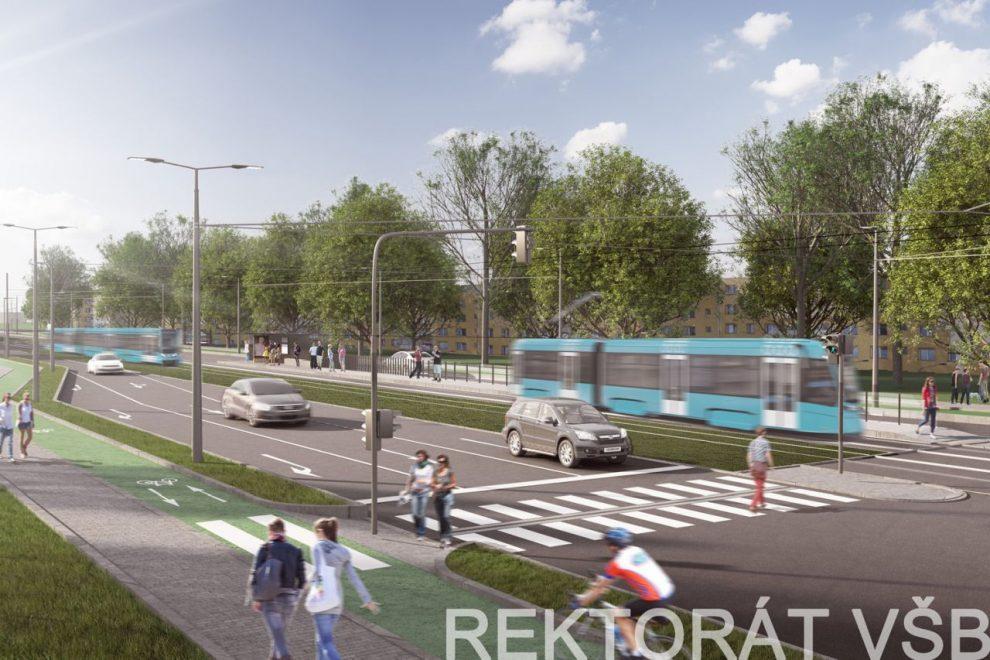 Vizualizace úpravy tramvajové tratě u zastávky Rektorát VŠB. Foto: novatramvajporuba.cz