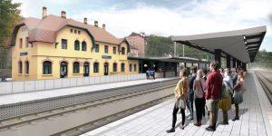 Vizualizace podoby nových nástupišť v Roztokách u Prahy. Foto: Správa železnic
