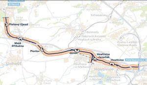 Mapa trati z Prahy-Ruzyně do Kladna. Foto: Správa železnic