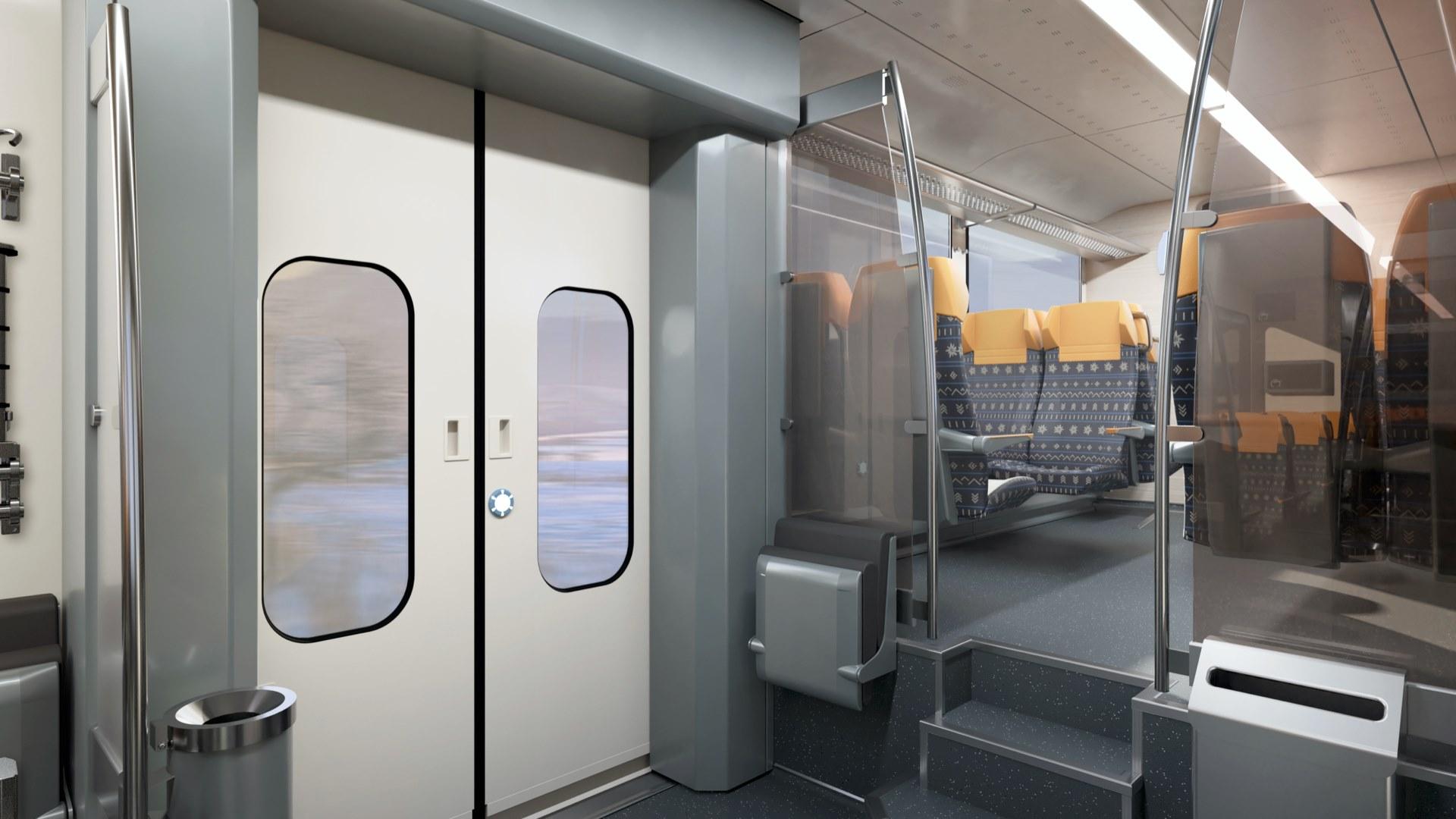 Vizualizace interiéru elektrické jednotky 425.95 po modernizaci. Foto: ZSSK